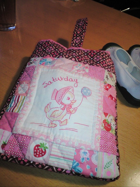 ピンクの上靴バッグ