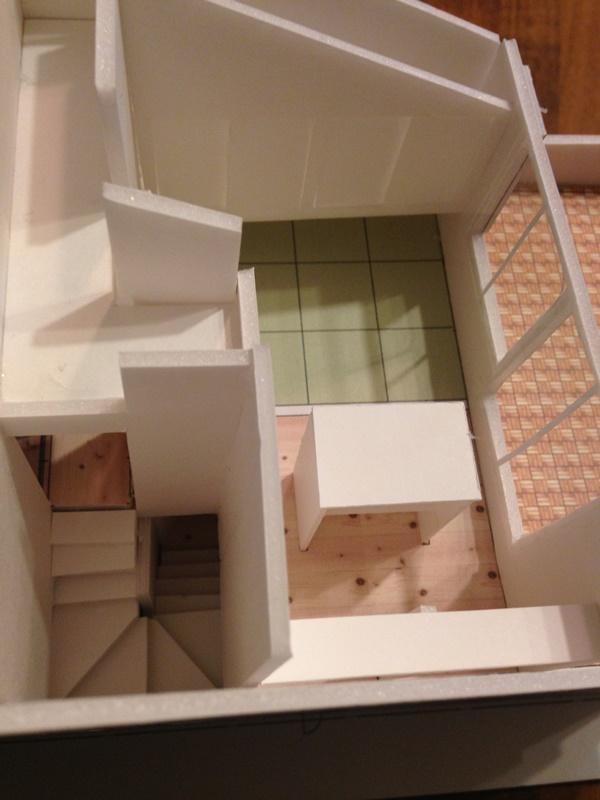 模型をつくると造作家具のバランスが分かりやすい